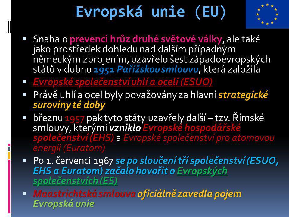 Evropská unie (EU) Spojené království, Irsko a Dánsko  K Spolkové republice Německo (SRN), Francii, Itálii, Belgii, Lucembursku a Nizozemí se k 1.