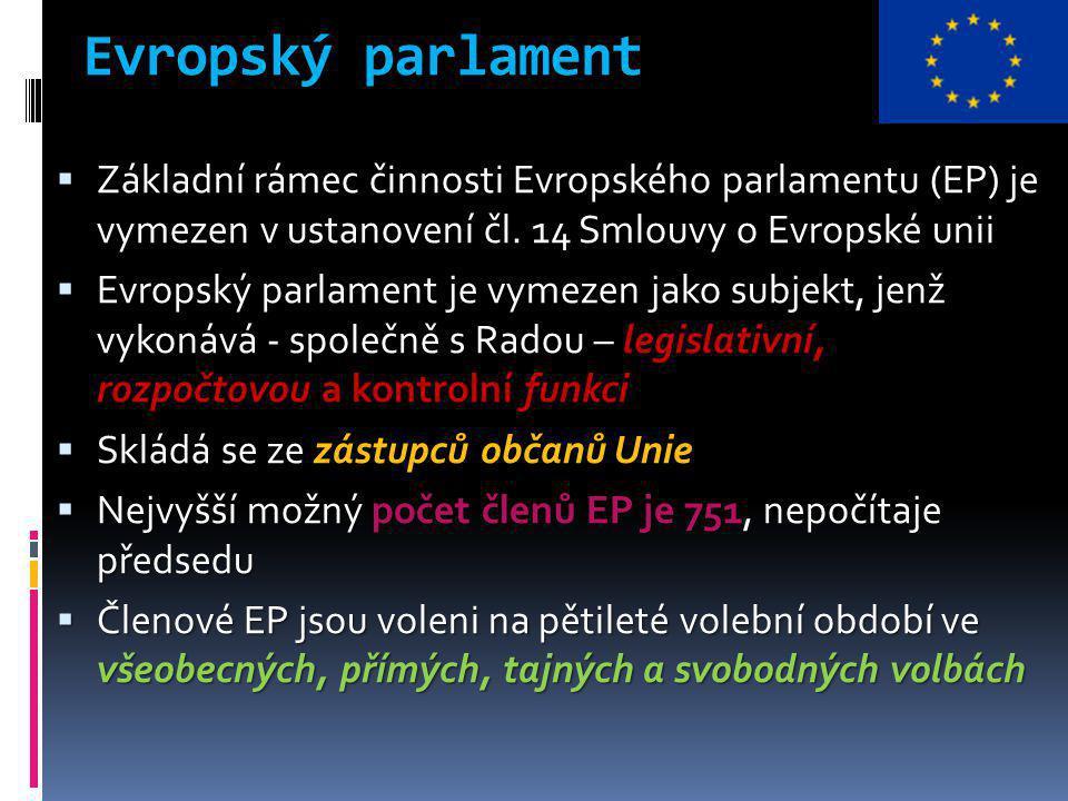 Evropský parlament  Základní rámec činnosti Evropského parlamentu (EP) je vymezen v ustanovení čl.