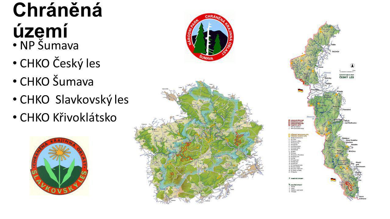 Chráněná území NP Šumava CHKO Český les CHKO Šumava CHKO Slavkovský les CHKO Křivoklátsko
