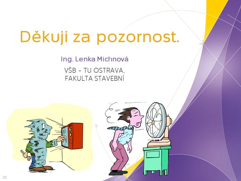 Děkuji za pozornost. 20 Ing. Lenka Michnová VŠB – TU OSTRAVA, FAKULTA STAVEBNÍ