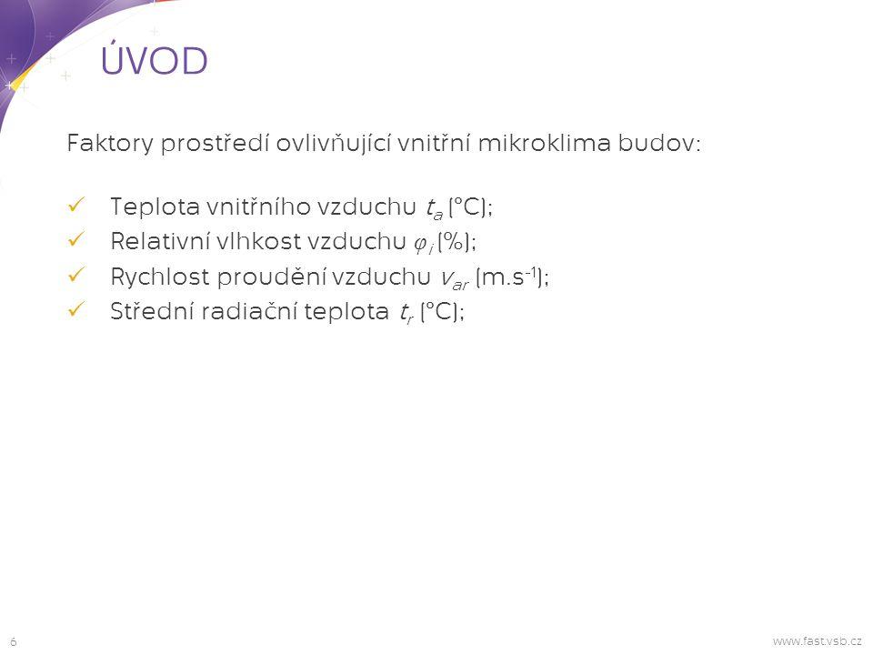 7 ÚVOD www.fast.vsb.cz Osobní faktory ovlivňující vnitřní mikroklima budov: Energetický výdej člověka M [W.m -2 ]; Tepelný odpor oděvu I cl [m 2.K.W -1 ]; Jednotka CLO odpovídá izolační hmotě s tepelným odporem oděvu 0,155 m 2.°C.W -1.