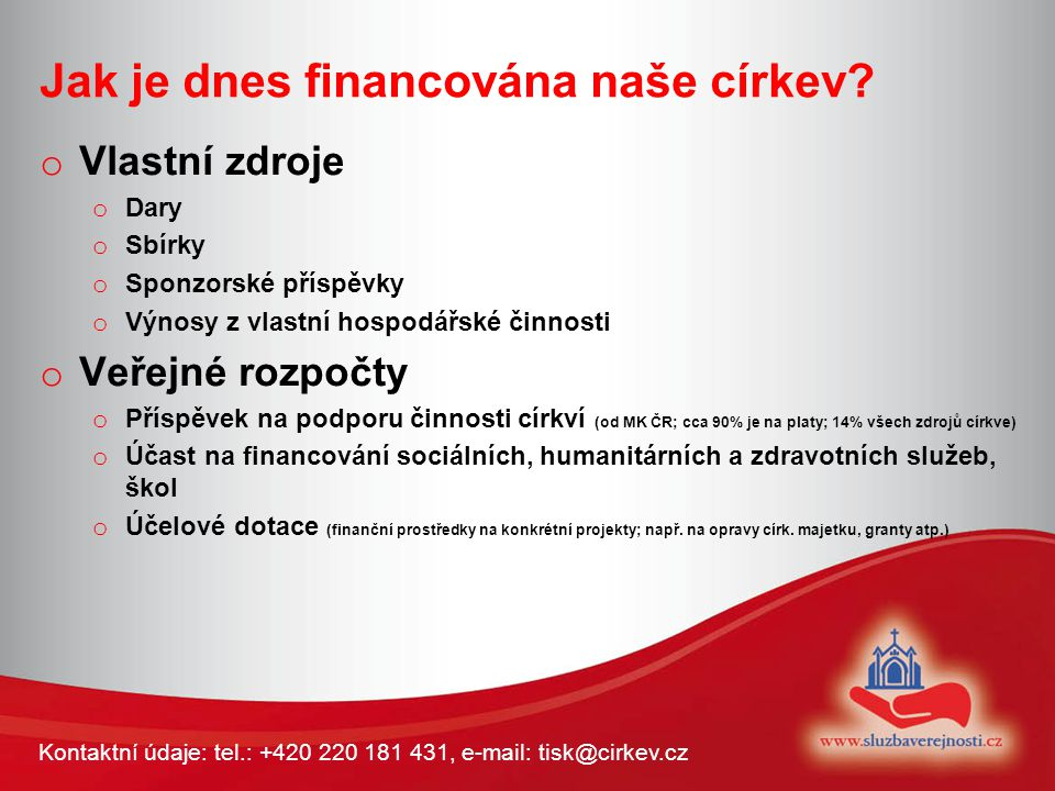 Kontaktní údaje: tel.: +420 220 181 431, e-mail: tisk@cirkev.cz Proč změnit financování a vrátit majetek.