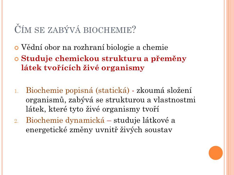 V ÝZNAM BIOCHEMIE Lékařství (klinická biochemie, patobiochemie) Farmacie (xenobiochemie) Zemědělství Průmysl Ochrana životního prostředí Výživa Vznik dalších vědních disciplín – molekulární biologie, molekulární genetika, biotechnologie, bioorganická chemie Obr.