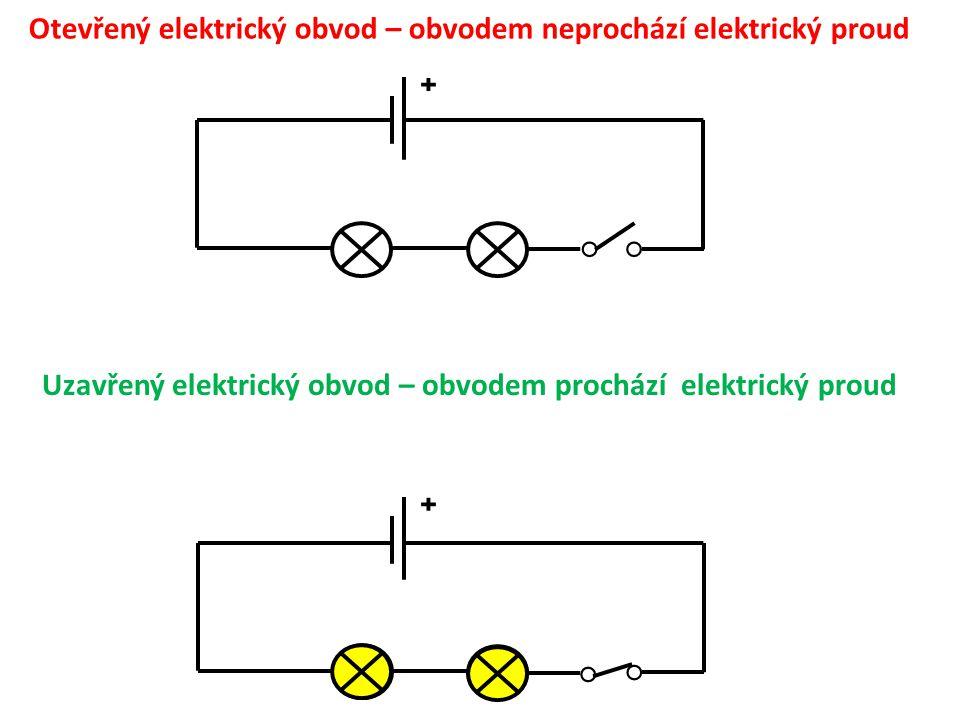 Otevřený elektrický obvod – obvodem neprochází elektrický proud ˖ ˖ ○ ○ Uzavřený elektrický obvod – obvodem prochází elektrický proud ○○