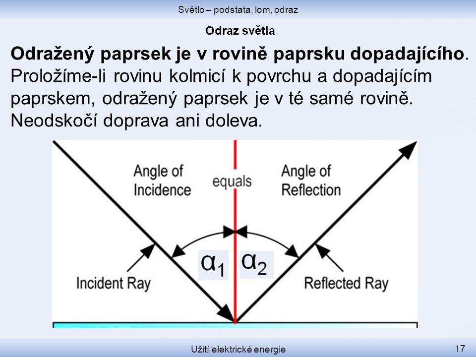 Světlo – podstata, lom, odraz Užití elektrické energie 17 Odražený paprsek je v rovině paprsku dopadajícího. Proložíme-li rovinu kolmicí k povrchu a d