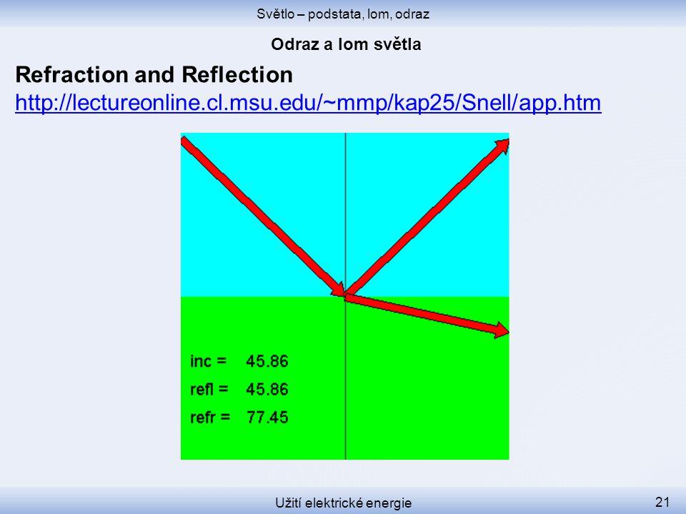 Světlo – podstata, lom, odraz Užití elektrické energie 21 Refraction and Reflection http://lectureonline.cl.msu.edu/~mmp/kap25/Snell/app.htm