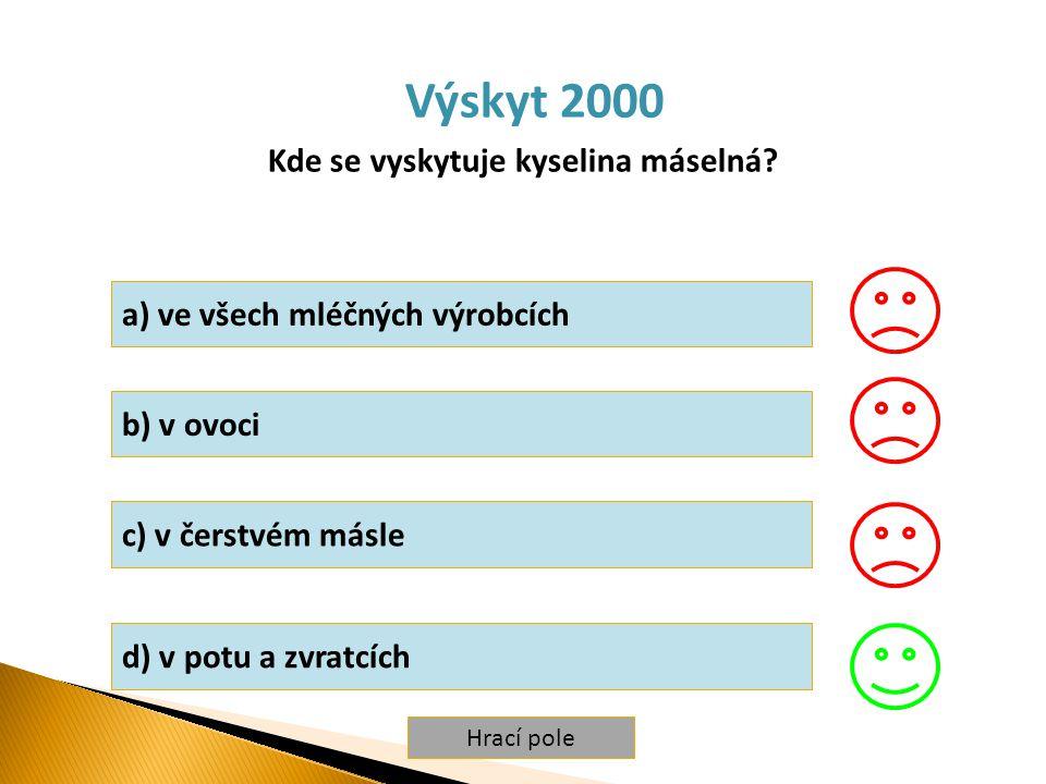 Hrací pole Výskyt 2000 Kde se vyskytuje kyselina máselná.