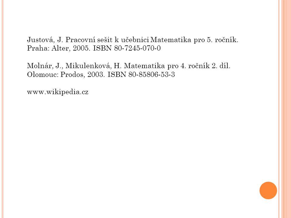 Justová, J.Pracovní sešit k učebnici Matematika pro 5.