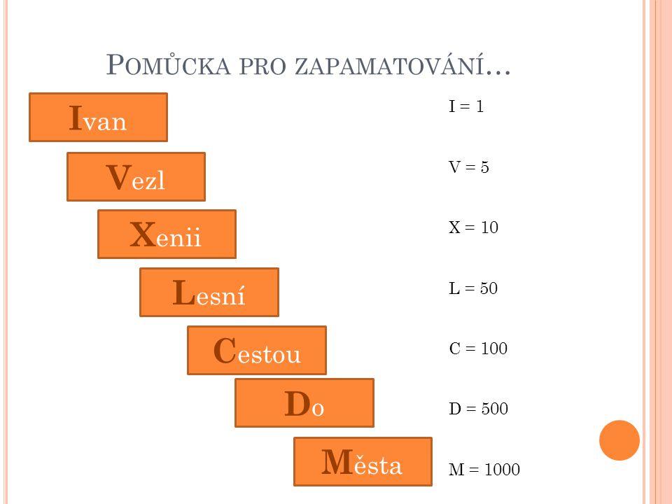 P OMŮCKA PRO ZAPAMATOVÁNÍ … I van V ezl L esní X enii M ěsta C estou DoDo I = 1 V = 5 X = 10 L = 50 C = 100 D = 500 M = 1000