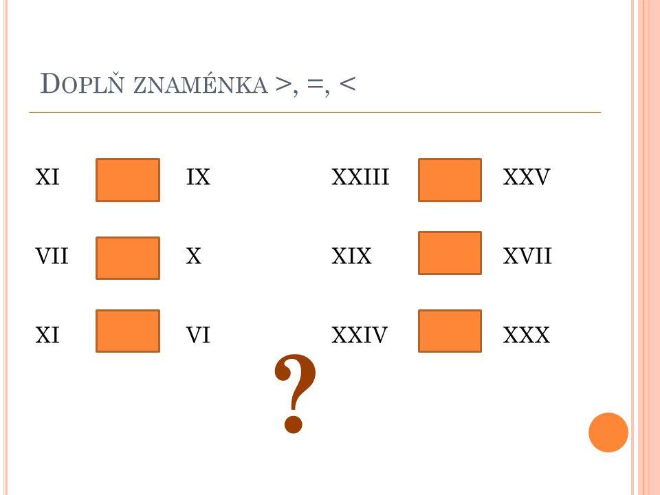 D OPLŇ ZNAMÉNKA >, =, < XI VII XI ><>><> <><<>< IX X VI XXIII XIX XXIV XXV XVII XXX ?