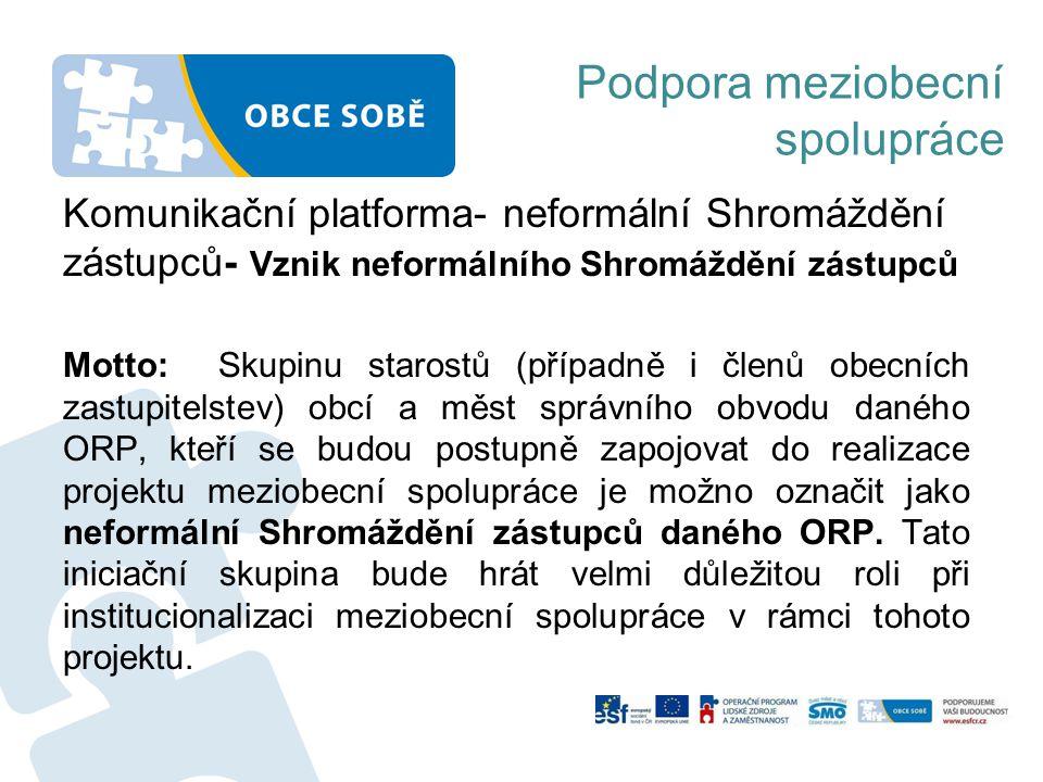 Podpora meziobecní spolupráce Komunikační platforma- neformální Shromáždění zástupců- Vznik neformálního Shromáždění zástupců Motto: Skupinu starostů