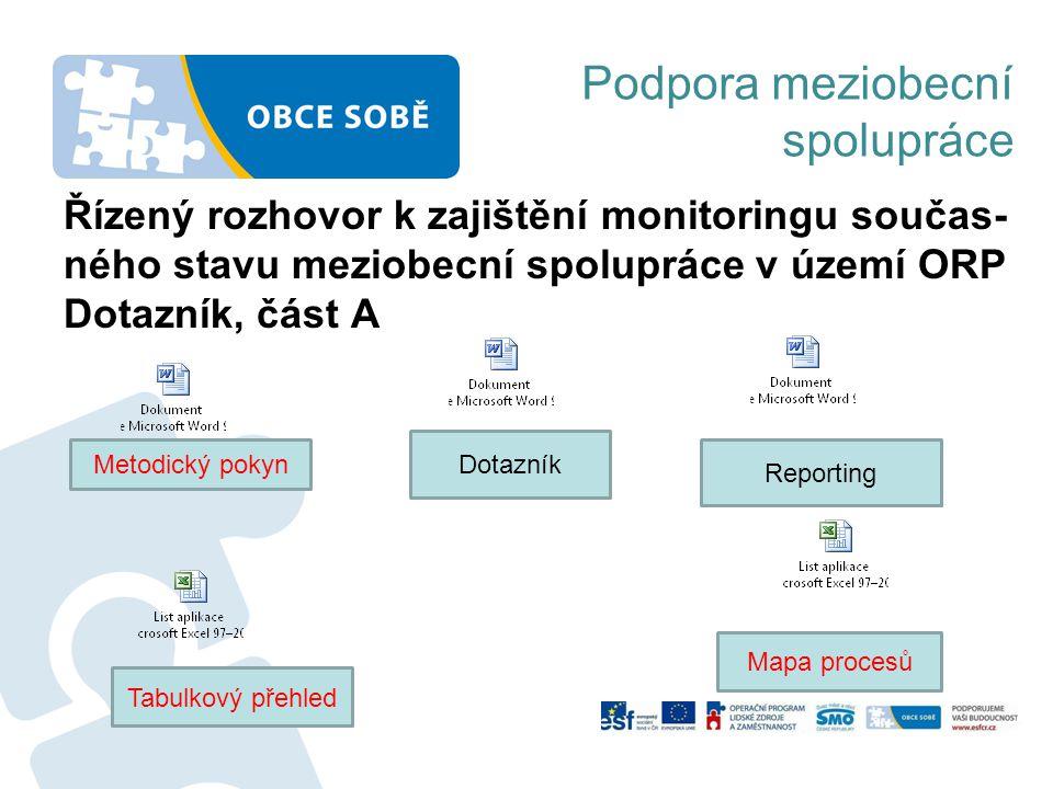 Podpora meziobecní spolupráce Řízený rozhovor k zajištění monitoringu součas- ného stavu meziobecní spolupráce v území ORP Dotazník, část A Metodický