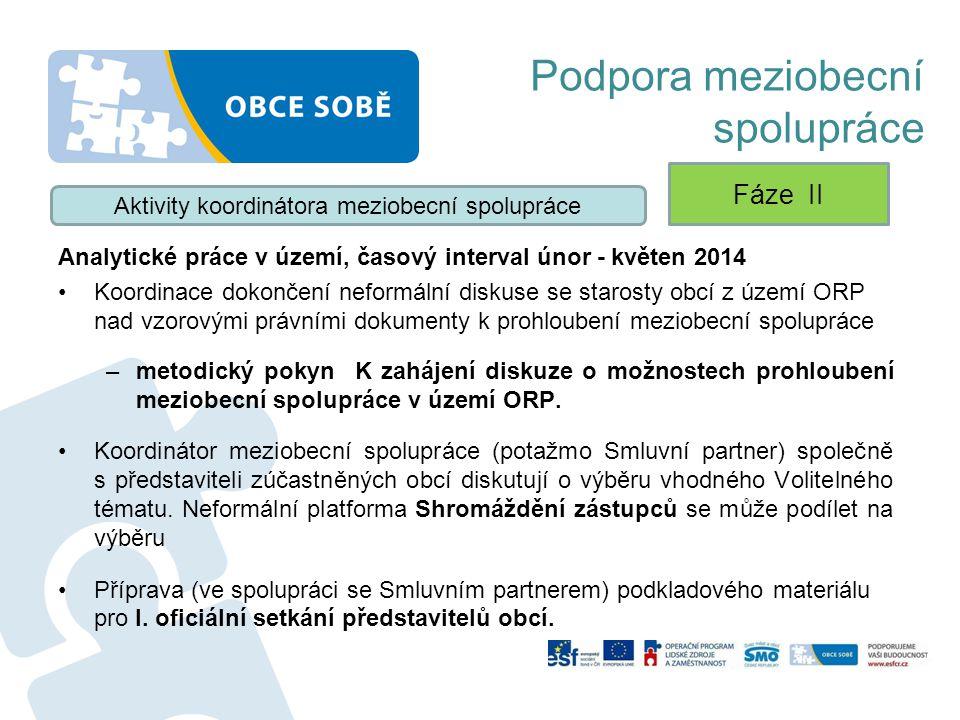 Podpora meziobecní spolupráce Analytické práce v území, časový interval únor - květen 2014 Koordinace dokončení neformální diskuse se starosty obcí z