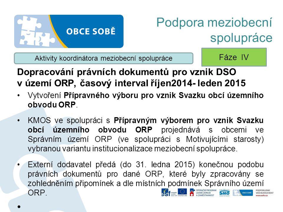 Podpora meziobecní spolupráce Dopracování právních dokumentů pro vznik DSO v území ORP, časový interval říjen2014- leden 2015 Vytvoření Přípravného vý