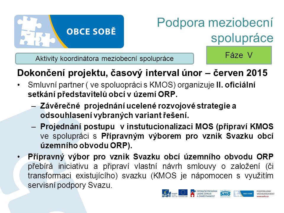 Podpora meziobecní spolupráce Dokončení projektu, časový interval únor – červen 2015 Smluvní partner ( ve spoluopráci s KMOS) organizuje II. oficiální