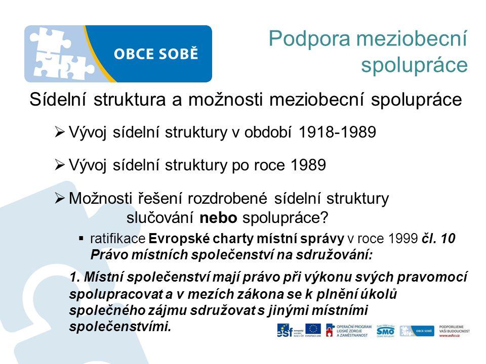 Podpora meziobecní spolupráce Sídelní struktura a možnosti meziobecní spolupráce  Vývoj sídelní struktury v období 1918-1989  Vývoj sídelní struktur