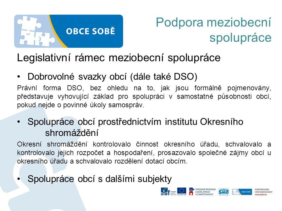 Podpora meziobecní spolupráce Legislativní rámec meziobecní spolupráce Dobrovolné svazky obcí (dále také DSO) Právní forma DSO, bez ohledu na to, jak