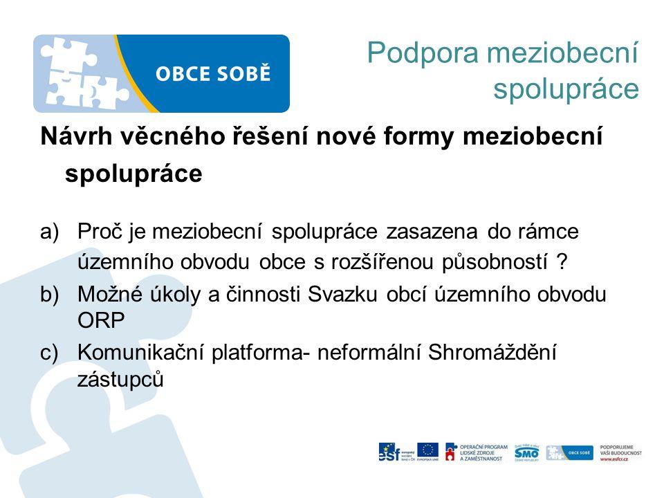 Podpora meziobecní spolupráce Návrh věcného řešení nové formy meziobecní spolupráce a)Proč je meziobecní spolupráce zasazena do rámce územního obvodu