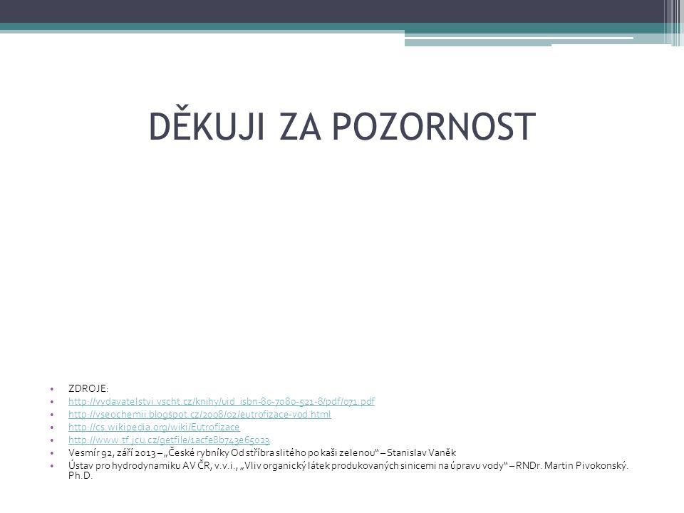DĚKUJI ZA POZORNOST ZDROJE: http://vydavatelstvi.vscht.cz/knihy/uid_isbn-80-7080-521-8/pdf/071.pdf http://vseochemii.blogspot.cz/2008/02/eutrofizace-v