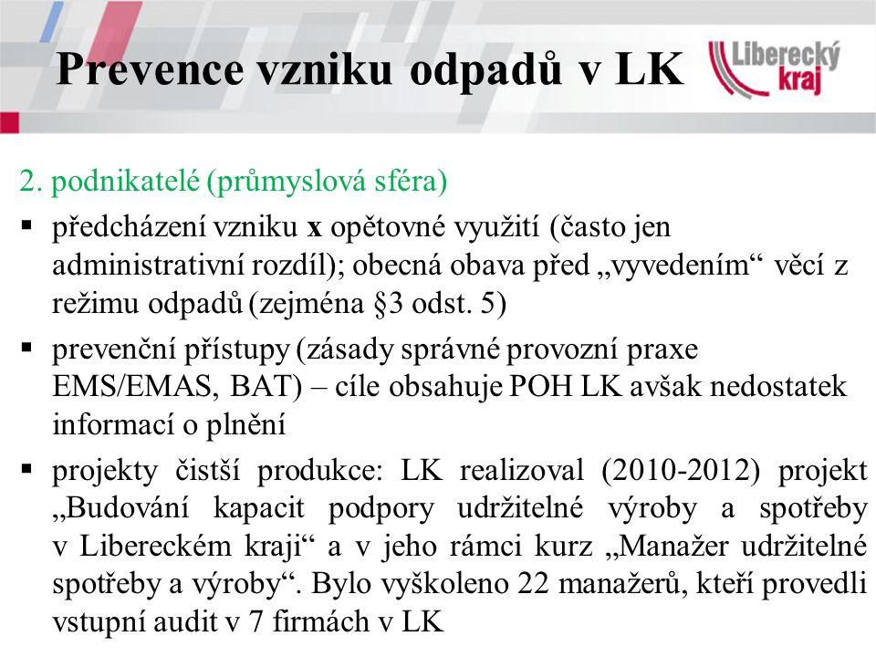Prevence vzniku odpadů v LK 2. podnikatelé (průmyslová sféra)  předcházení vzniku x opětovné využití (často jen administrativní rozdíl); obecná obava