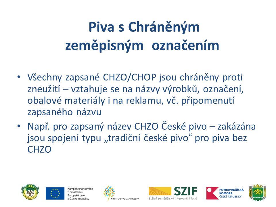 Všechny zapsané CHZO/CHOP jsou chráněny proti zneužití – vztahuje se na názvy výrobků, označení, obalové materiály i na reklamu, vč. připomenutí zapsa