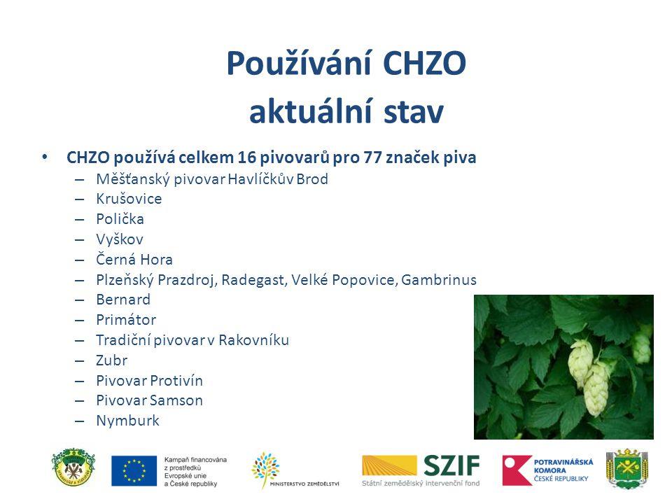 CHZO používá celkem 16 pivovarů pro 77 značek piva – Měšťanský pivovar Havlíčkův Brod – Krušovice – Polička – Vyškov – Černá Hora – Plzeňský Prazdroj,