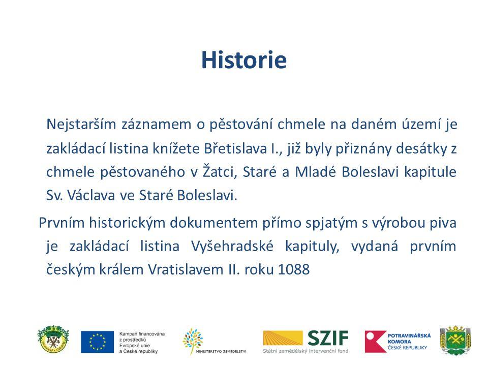 Nejstarším záznamem o pěstování chmele na daném území je zakládací listina knížete Břetislava I., již byly přiznány desátky z chmele pěstovaného v Žat
