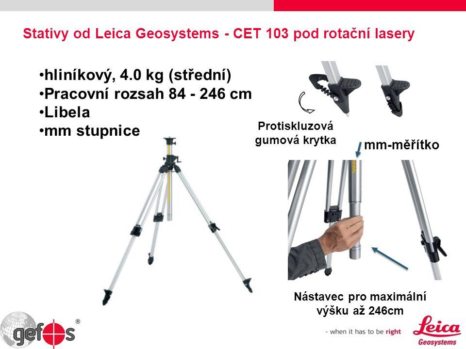Nástavec pro maximální výšku až 246cm mm-měřítko hliníkový, 4.0 kg (střední) Pracovní rozsah 84 - 246 cm Libela mm stupnice Stativy od Leica Geosystem
