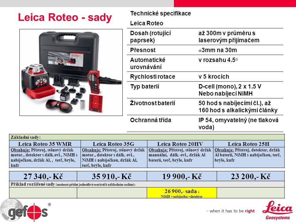 Leica Roteo - sady Technické specifikace Leica Roteo Dosah (rotující paprsek) až 300m v průměru s laserovým přijímačem Přesnost±3mm na 30m Automatické