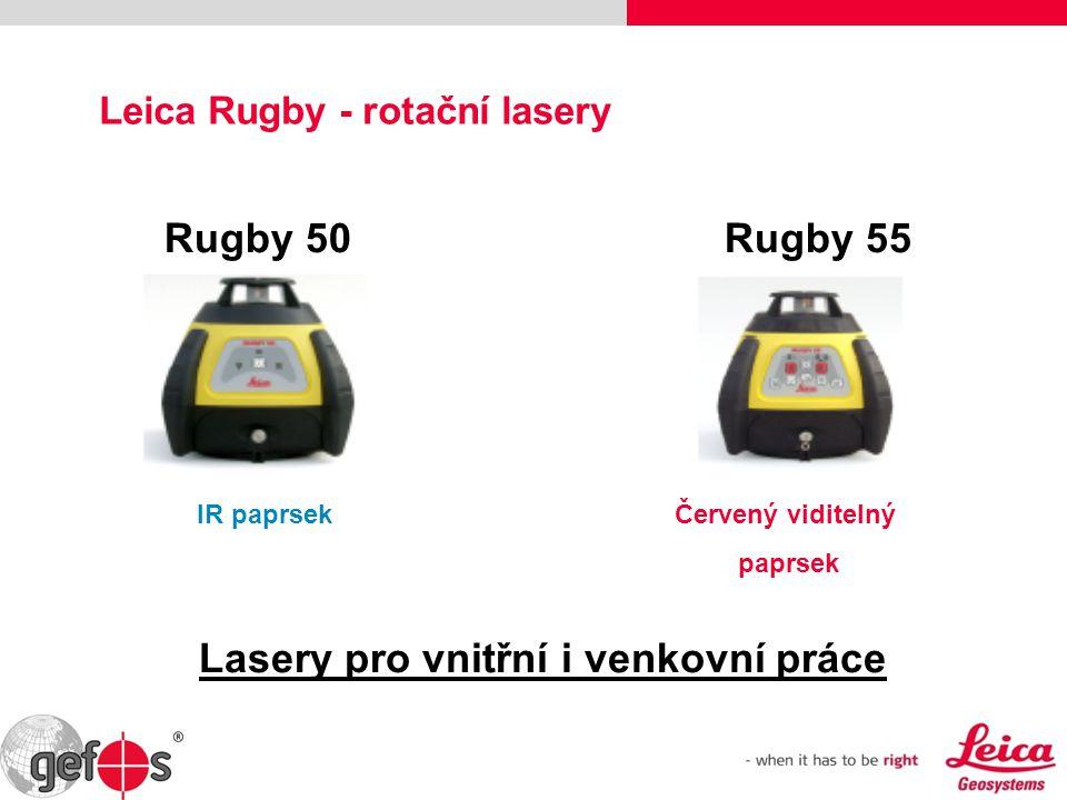 Leica Rugby - rotační lasery Rugby 50 Rugby 55 Lasery pro vnitřní i venkovní práce IR paprsekČervený viditelný paprsek