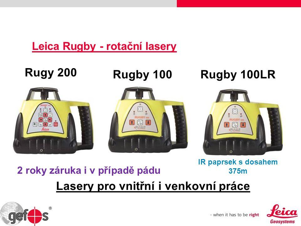 Leica Rugby - rotační lasery Rugby 100 Rugy 200 Lasery pro vnitřní i venkovní práce Rugby 100LR IR paprsek s dosahem 375m 2 roky záruka i v případě pá