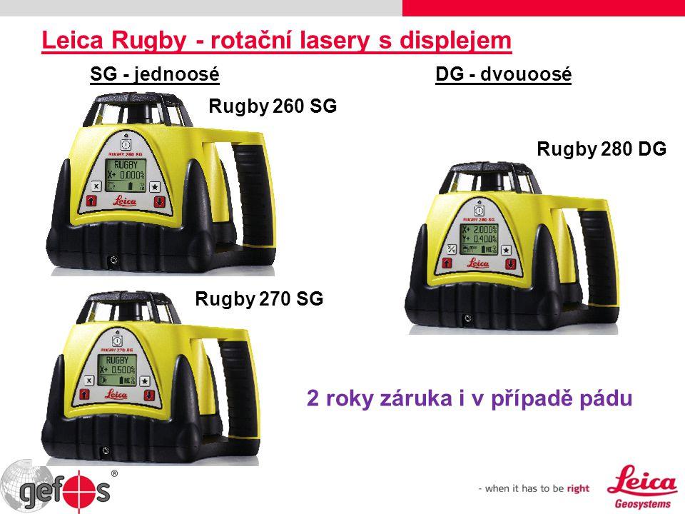 Leica Rugby - rotační lasery s displejem Rugby 260 SG Rugby 270 SG Rugby 280 DG SG - jednooséDG - dvouoosé 2 roky záruka i v případě pádu