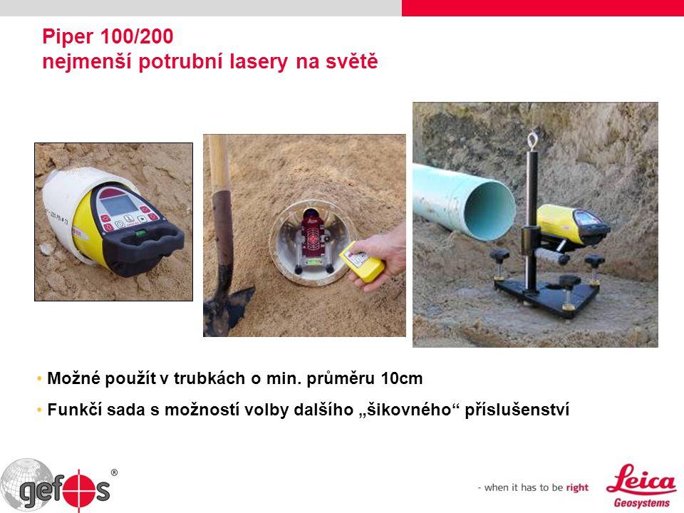 """Piper 100/200 nejmenší potrubní lasery na světě Možné použít v trubkách o min. průměru 10cm Funkčí sada s možností volby dalšího """"šikovného"""" příslušen"""