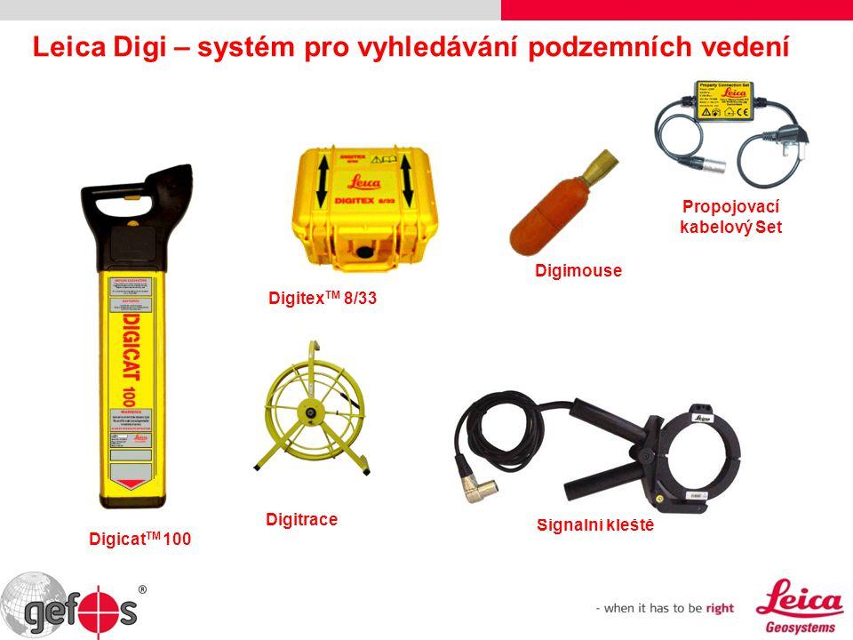 Signalní kleště Propojovací kabelový Set Digimouse Digitrace Digitex TM 8/33 Digicat TM 100 Leica Digi – systém pro vyhledávání podzemních vedení