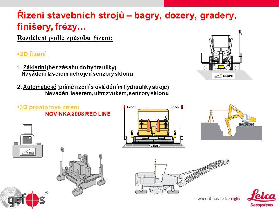 Řízení stavebních strojů – bagry, dozery, gradery, finišery, frézy… Rozdělení podle způsobu řízení:  2D řízení 1. Základní (bez zásahu do hydrauliky)