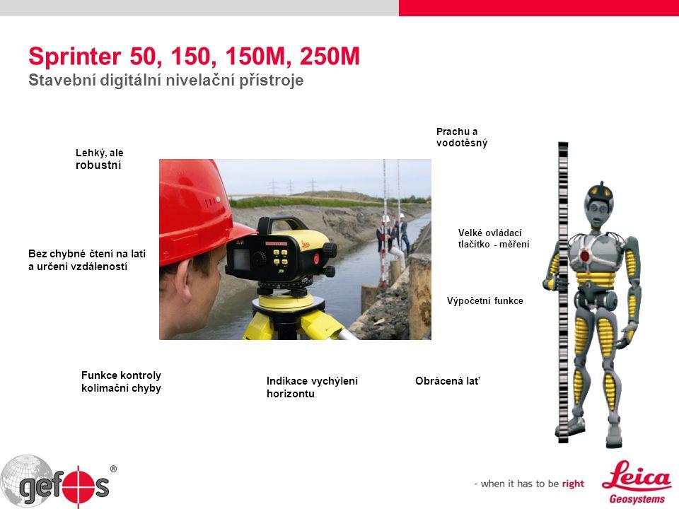 Sprinter 50, 150, 150M, 250M Stavební digitální nivelační přístroje Prachu a vodotěsný Bez chybné čtení na lati a určení vzdáleností Obrácená lať Lehk