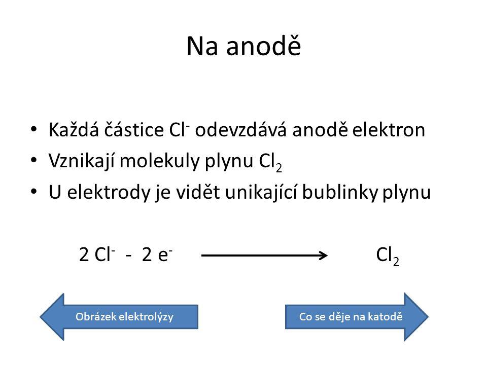 Na anodě Každá částice Cl - odevzdává anodě elektron Vznikají molekuly plynu Cl 2 U elektrody je vidět unikající bublinky plynu 2 Cl - - 2 e - Cl 2 Obrázek elektrolýzyCo se děje na katodě