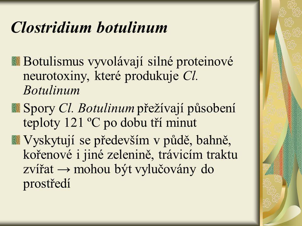 Clostridium botulinum Botulismus vyvolávají silné proteinové neurotoxiny, které produkuje Cl. Botulinum Spory Cl. Botulinum přežívají působení teploty