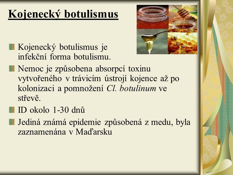 Kojenecký botulismus Kojenecký botulismus je infekční forma botulismu. Nemoc je způsobena absorpcí toxinu vytvořeného v trávicím ústrojí kojence až po