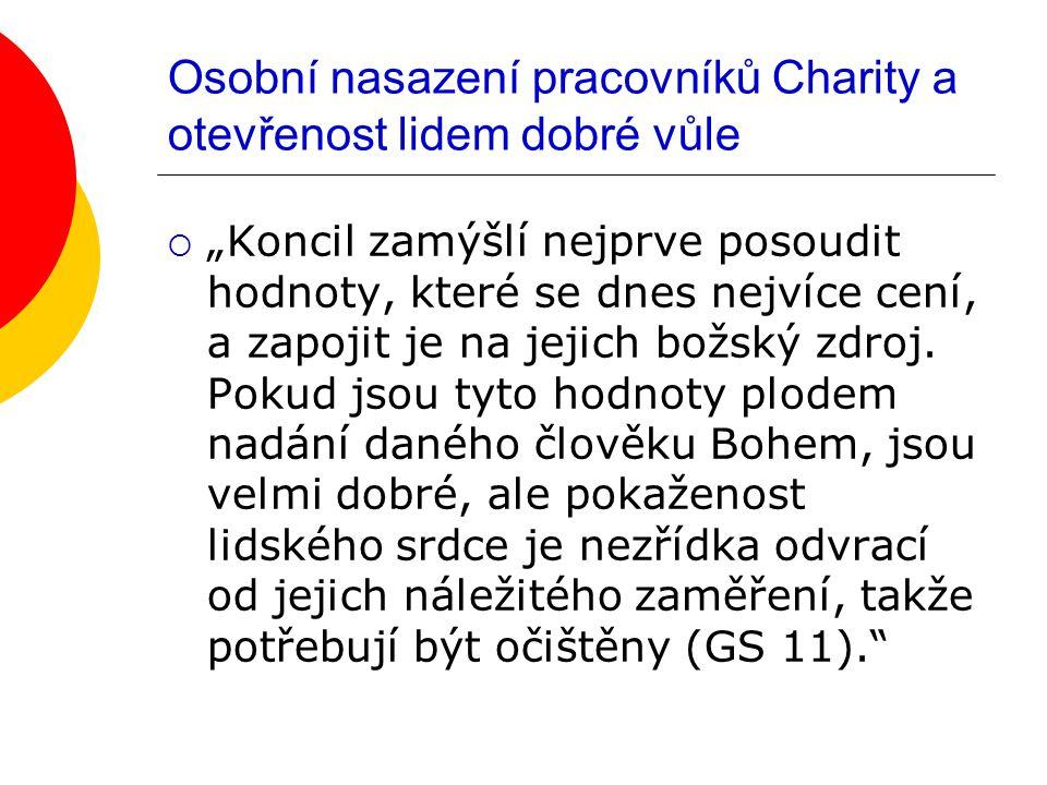 """Osobní nasazení pracovníků Charity a otevřenost lidem dobré vůle  """"Koncil zamýšlí nejprve posoudit hodnoty, které se dnes nejvíce cení, a zapojit je na jejich božský zdroj."""