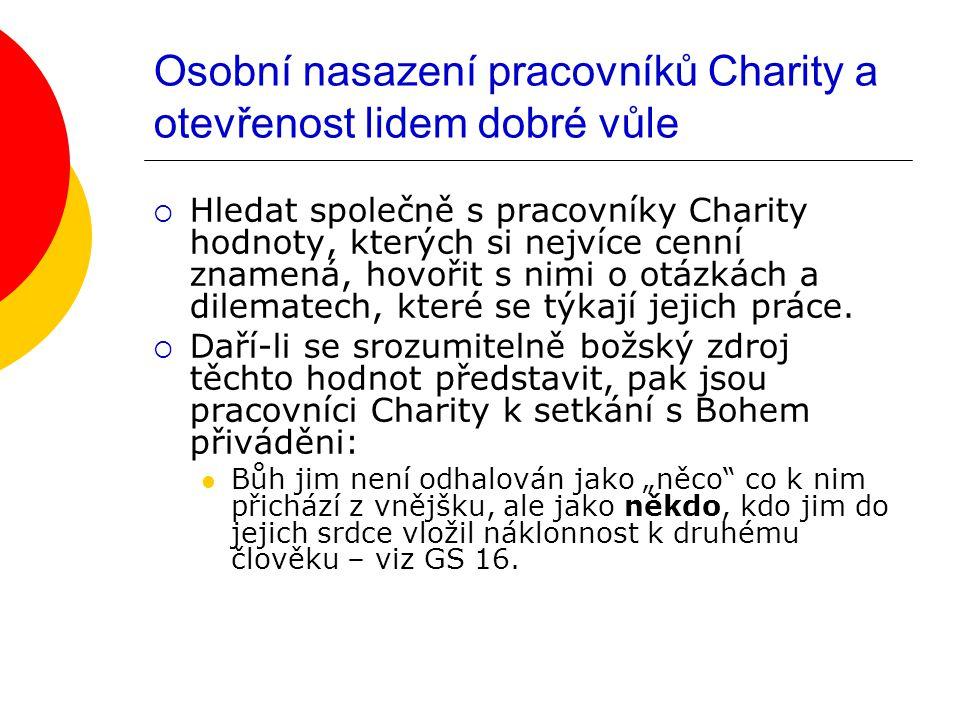 Osobní nasazení pracovníků Charity a otevřenost lidem dobré vůle  Hledat společně s pracovníky Charity hodnoty, kterých si nejvíce cenní znamená, hovořit s nimi o otázkách a dilematech, které se týkají jejich práce.