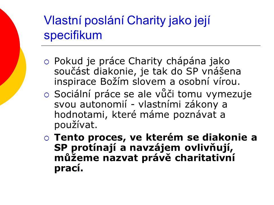 Vlastní poslání Charity jako její specifikum  Pokud je práce Charity chápána jako součást diakonie, je tak do SP vnášena inspirace Božím slovem a oso