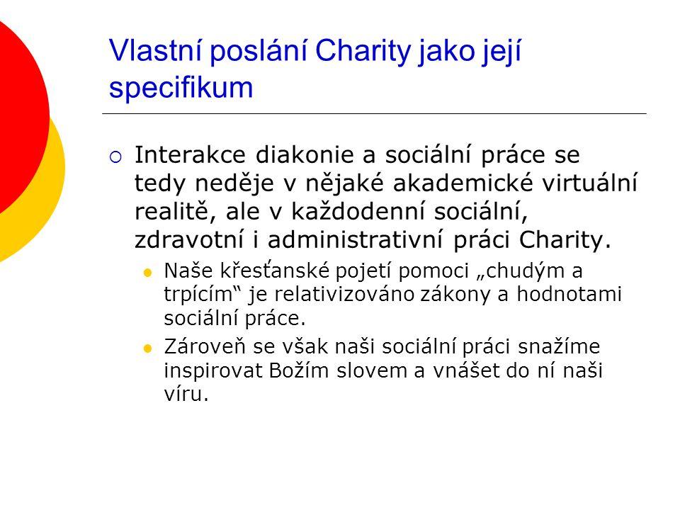 Vlastní poslání Charity jako její specifikum  Interakce diakonie a sociální práce se tedy neděje v nějaké akademické virtuální realitě, ale v každodenní sociální, zdravotní i administrativní práci Charity.