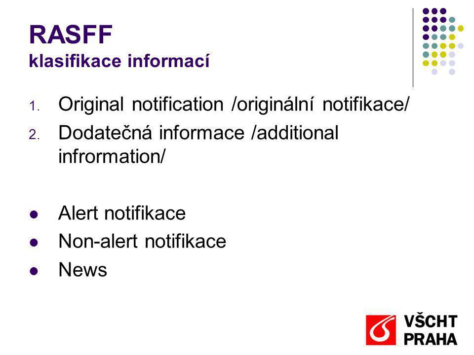 RASFF klasifikace informací 1. Original notification /originální notifikace/ 2. Dodatečná informace /additional infrormation/ Alert notifikace Non-ale