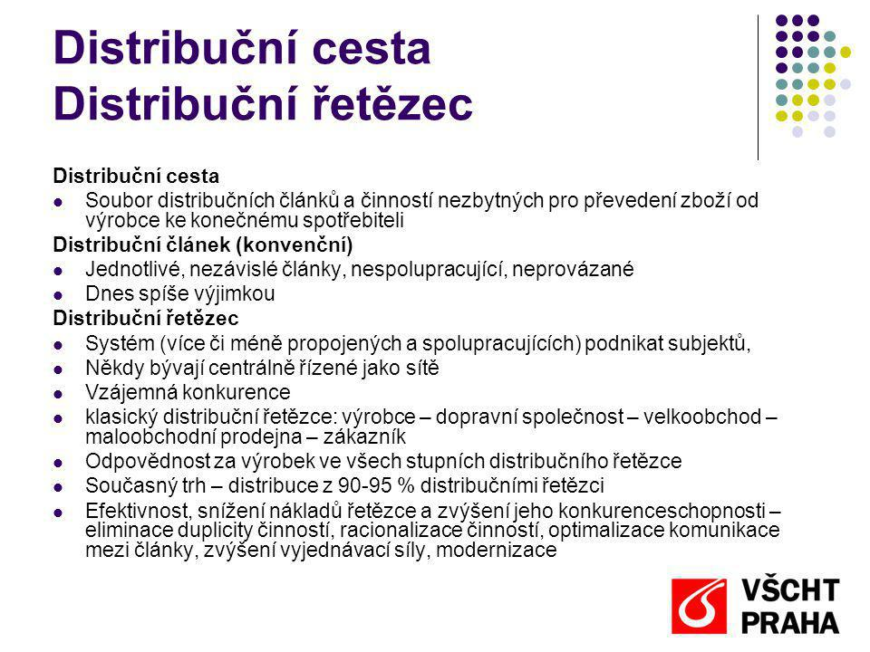 Distribuční cesta Distribuční řetězec Distribuční cesta Soubor distribučních článků a činností nezbytných pro převedení zboží od výrobce ke konečnému