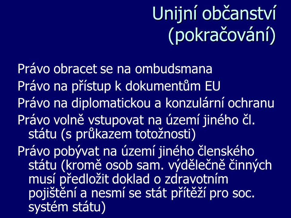 Unijní občanství (pokračování) Právo obracet se na ombudsmana Právo na přístup k dokumentům EU Právo na diplomatickou a konzulární ochranu Právo volně