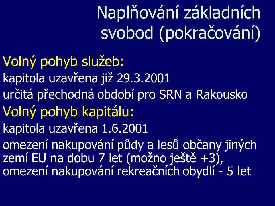 Naplňování základních svobod (pokračování) Volný pohyb služeb: kapitola uzavřena již 29.3.2001 určitá přechodná období pro SRN a Rakousko Volný pohyb