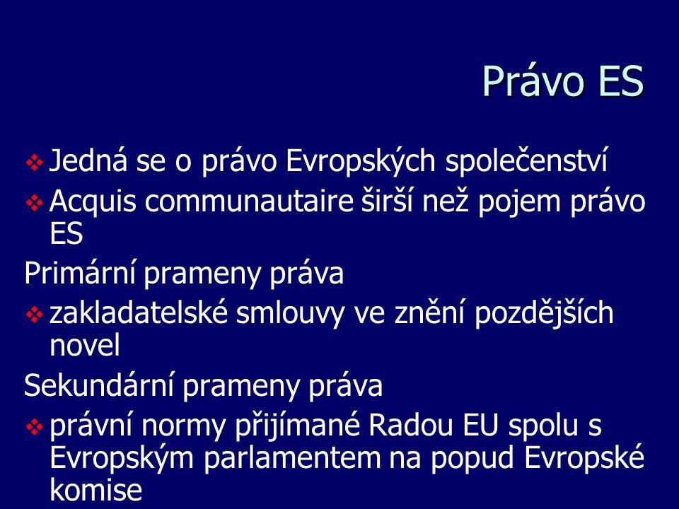 Právo ES   Jedná se o právo Evropských společenství   Acquis communautaire širší než pojem právo ES Primární prameny práva   zakladatelské smlou