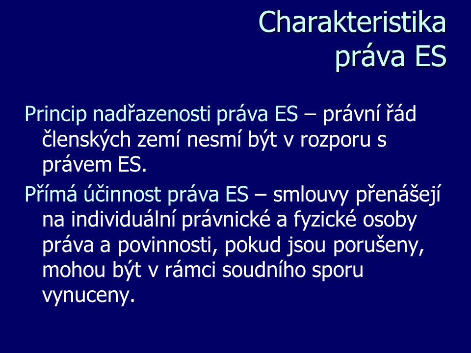 Charakteristika práva ES Charakteristika práva ES Princip nadřazenosti práva ES – právní řád členských zemí nesmí být v rozporu s právem ES. Přímá úči