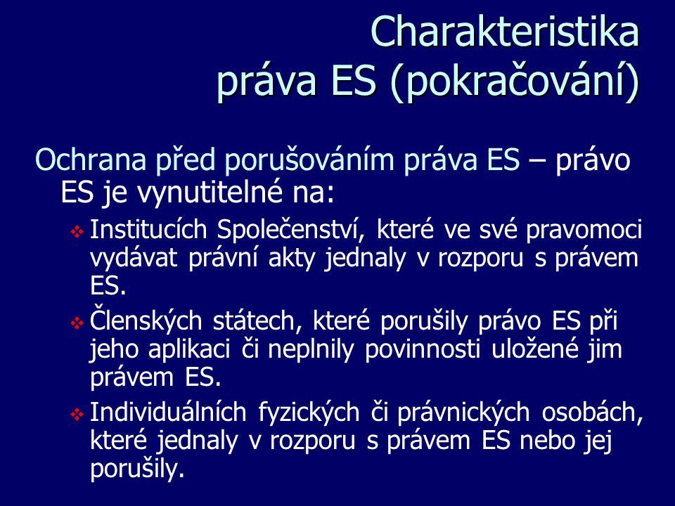 Charakteristika práva ES (pokračování) Charakteristika práva ES (pokračování) Ochrana před porušováním práva ES – právo ES je vynutitelné na:   Inst